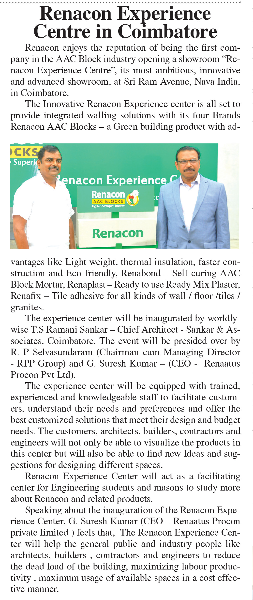 Renacon Opens Experience Center in Coimbatore