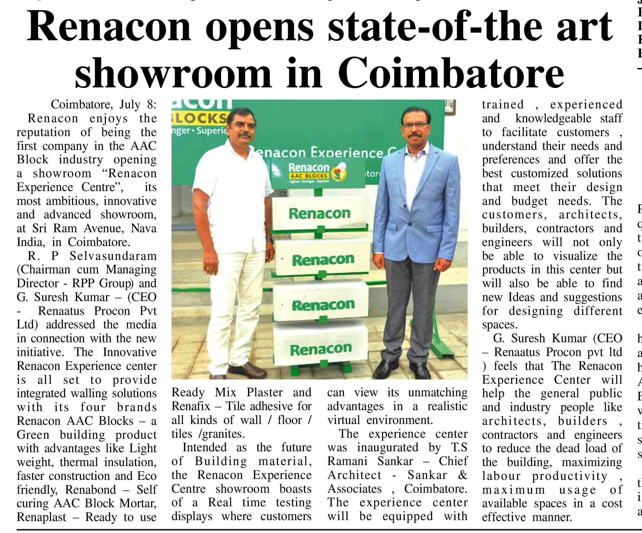 Renacon Opens New Showroom in Coimbatore